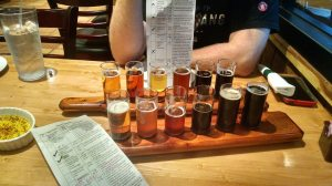 Tasting flights at Ye Olde Brother's Brewery. One flight per beer drinker. Great pizza!
