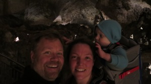 Hiking in the caverns. Alex is fixing our hair.