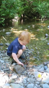 Alex enjoying the rocks in Mill Creek.