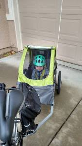 Alex off to daycare in his bike trailer!