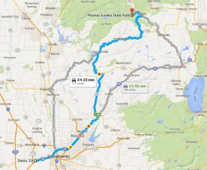 Route to Plumas Eureka State Park.