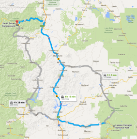 Route for Lassen Volcanic National Park to Sarah Totten Campground.