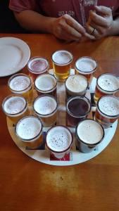 The sampler at North Coast Brewing Company.