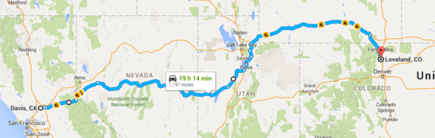 Route from Davis, CA to Loveland, CO.