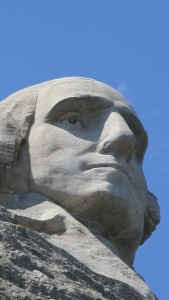 A close-up of George Washington from the Presidential Trail.