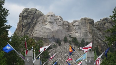 View of Mount Rushmore down the Avenue of Flags.