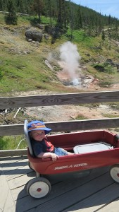 Alex enjoying his VIP tour of Yellowstone.