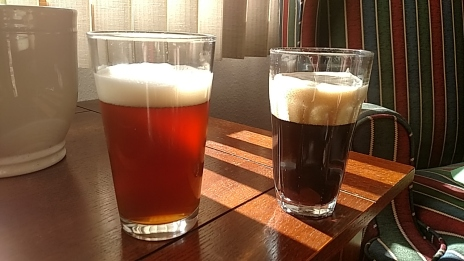 Alex's Imperial Amber on the left and the Bourbon Vanilla Imperial Porter on the right.