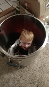 Alex checking out the new mash tun.