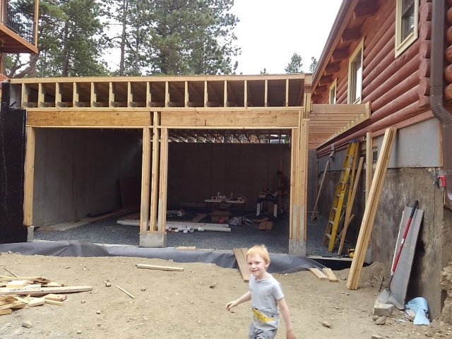 Garage: Front Wall, Roof Trusses and Decking